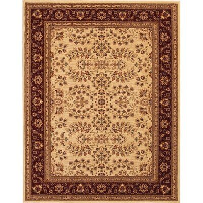 Crillon Tan/Red Area Rug Rug Size: 53 x 76