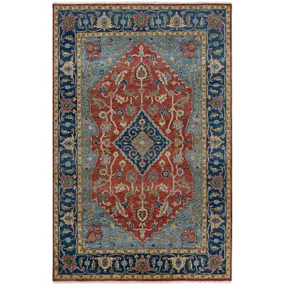 Domaine Hand-Knotted Rust/Sapphire Area Rug Rug Size: Rectangle 96 x 139