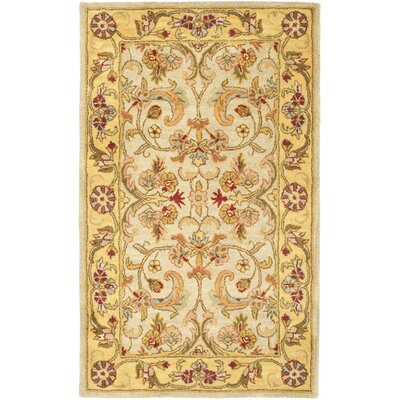 Carnasheeran Light Green/Gold Area Rug Rug Size: Rectangle 2 x 3