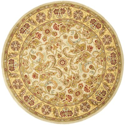 Carnasheeran Light Green/Gold Area Rug Rug Size: Round 6