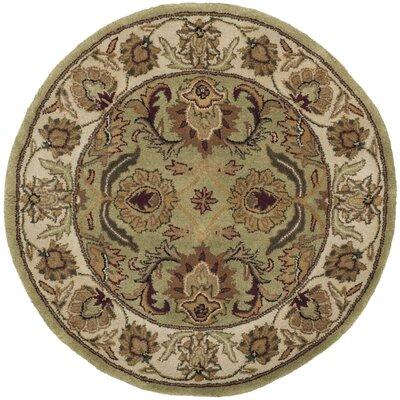Carnasheeran Green / Ivory Area Rug Rug Size: Round 36