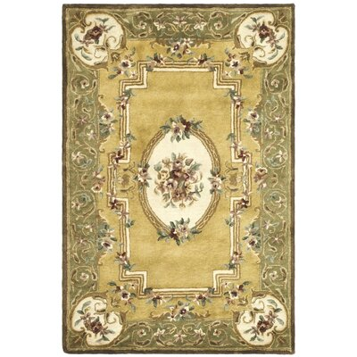 Carnasheeran Light Gold / Green Area Rug Rug Size: 4' x 6'