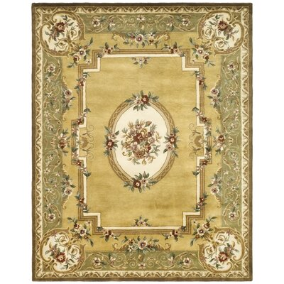 Carnasheeran Light Gold / Green Area Rug Rug Size: 96 x 136