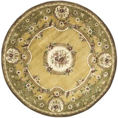 Carnasheeran Light Gold / Green Area Rug Rug Size: Round 3'6
