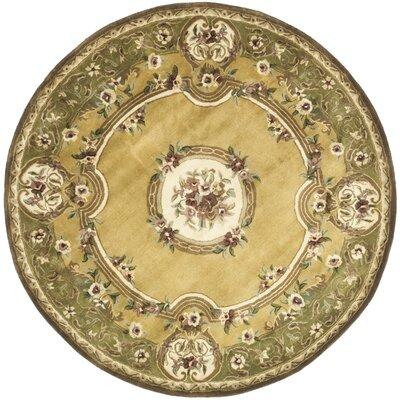 Carnasheeran Light Gold / Green Area Rug Rug Size: Round 3'6