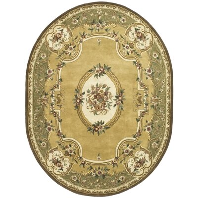 Carnasheeran Light Gold / Green Area Rug Rug Size: Oval 4'6