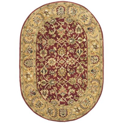 Carnasheeran Red / Gold Area Rug Rug Size: Oval 76 x 96