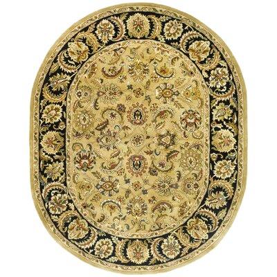 Carnasheeran Gold/Black Rug Rug Size: Oval 76 x 96