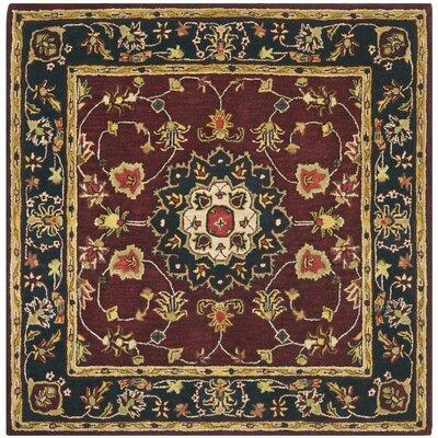 Carnasheeran Burgundy & Navy Area Rug Rug Size: Square 6