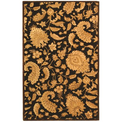 Carnasheeran Dark Brown / Gold Area Rug Rug Size: 96 x 136