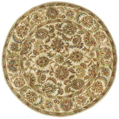 Carnasheeran Gold / Ivory Area Rug Rug Size: Round 6'