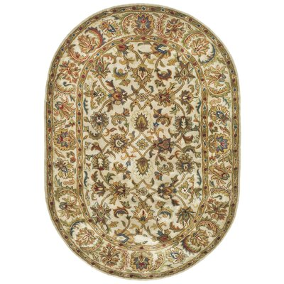 Carnasheeran Gold / Ivory Area Rug Rug Size: Oval 7'6