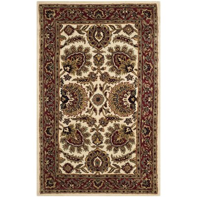 Carnasheeran Hand-tufted Ivory/Red Area Rug Rug Size: 76 x 96