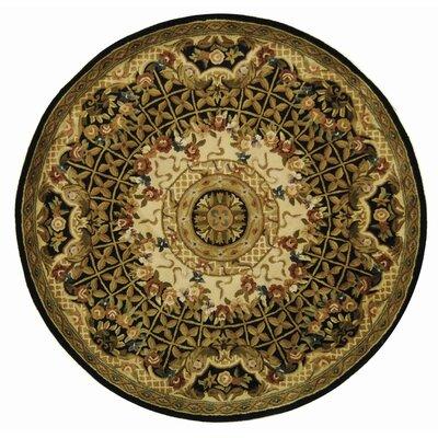 Carnasheeran Black/Gold Rug Rug Size: Round 3'6