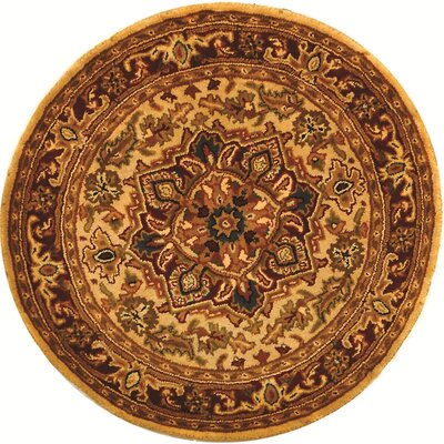 Carnasheeran Light Gold/Red Rug Rug Size: Round 3'6