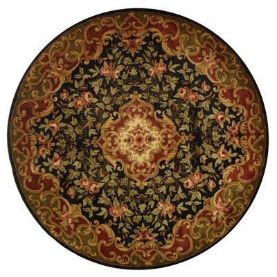Classic Black/Green Rug Rug Size: Round 8