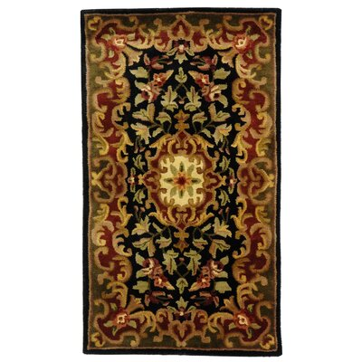 Classic Black/Green Rug Rug Size: Rectangle 23 x 4