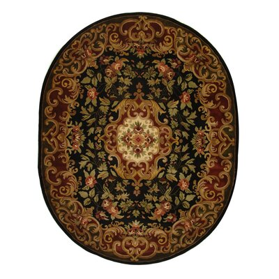 Classic Black/Green Rug Rug Size: Oval 46 x 66