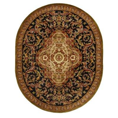 Carnasheeran Royal Black/Beige Rug Rug Size: Oval 7'6