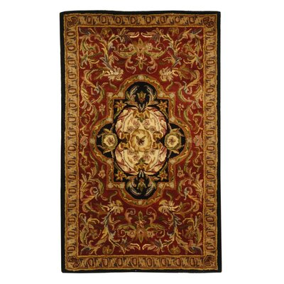Carnasheeran Royal Red/Black Rug Rug Size: 76 x 96