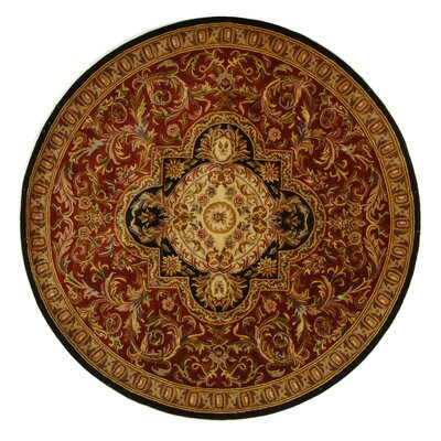 Carnasheeran Royal Red/Black Rug Rug Size: Round 6