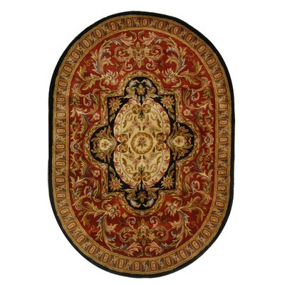 Carnasheeran Royal Red/Black Rug Rug Size: Oval 76 x 96