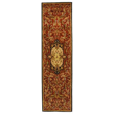 Carnasheeran Royal Red/Black Rug Rug Size: Runner 23 x 10