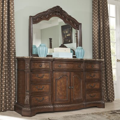 Carnearney 9 Drawer Combo Dresser with Mirror