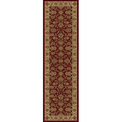 Ikin Red & Ivory Kashan Area Rug Rug Size: Runner 23 x 77