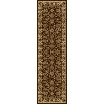Ikin Mocha/Ivory Kashan Rug Rug Size: Runner 23 x 77