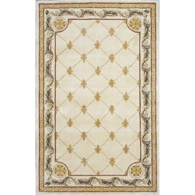 Totternhoe Antique Ivory Fleur-De-Lis Rug Rug Size: Rectangle 36 x 56