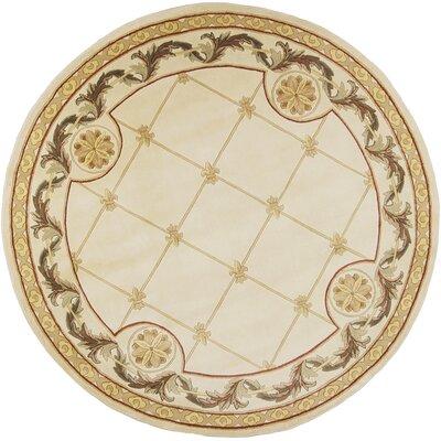 Totternhoe Antique Ivory Fleur-De-Lis Rug Rug Size: Round 7'9