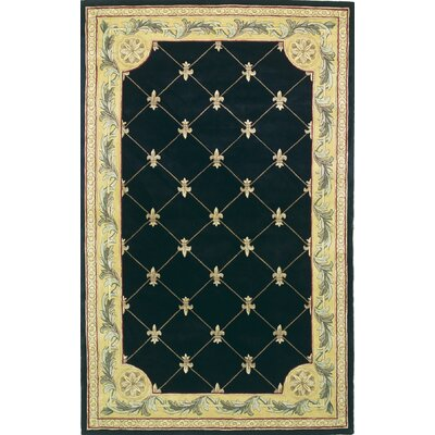 Totternhoe Black Fleur-De-Lis Rug Rug Size: Rectangle 53 x 83