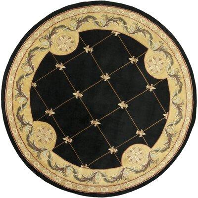 Totternhoe Black Fleur-De-Lis Rug Rug Size: Round 7'9