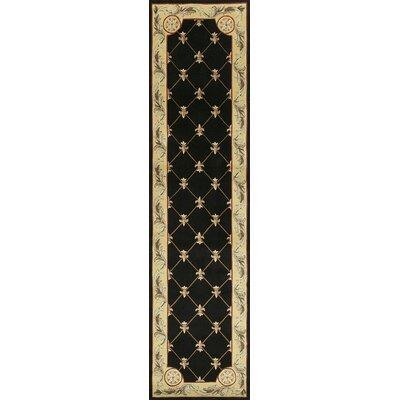 Totternhoe Black Fleur-De-Lis Rug Rug Size: Runner 26 x 10
