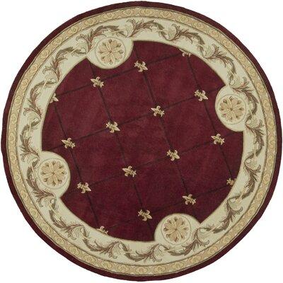 Totternhoe Red FleurDeLis Rug Rug Size: Round 79