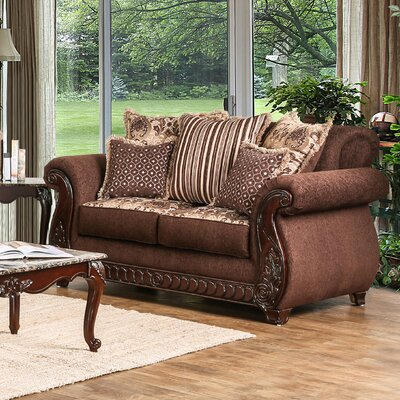 Dolson Traditional Loveseat Upholstery: Brown