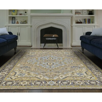 Fitzroy Hand-Knotted Gray/Beige Area Rug Rug Size: Rectangle 96 x 136