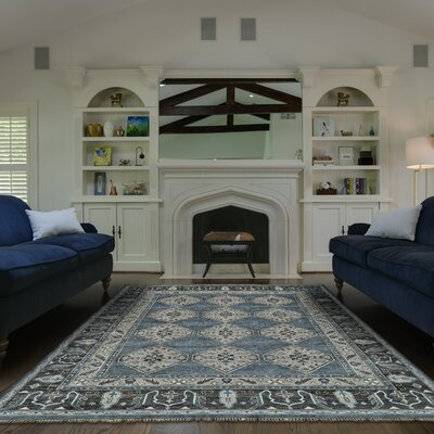 Flaxberry Hand-Knotted Dark Blue/Gray Area Rug Rug Size: Rectangle 86 x 116
