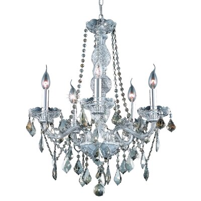 Abram 5-Light Crystal Chandelier Finish: Chrome / Golden Teak (Smoky) / Royal Cut