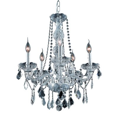 Abram 5-Light Crystal Chandelier Finish: Chrome / Crystal (Clear) / Spectra Swarovski