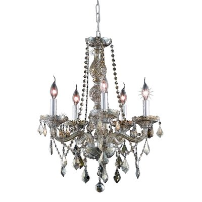 Abram 5-Light Crystal Chandelier Finish: Golden Teak / Golden Teak (Smoky) / Royal Cut