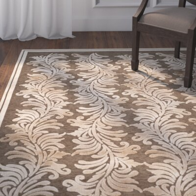 Plume Tufted-Hand-Loomed Beige/Brown Area Rug Rug Size: 53 x 76