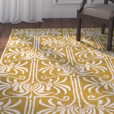 Bartell Gold Damask Area Rug Rug Size: Rectangle 9 x 13