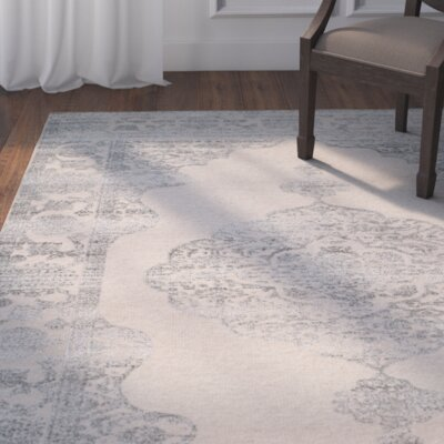 Taj Hand-Knotted Beige/Gray Area Rug Rug Size: 9 x 12