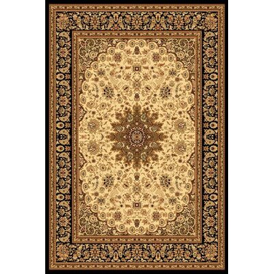 Marian Cream & Black Area Rug Rug Size: 53 x 77