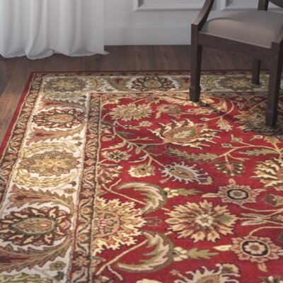 Balthrop Hand-Tufted Red/Beige Area Rug