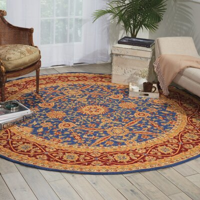 Aletha Square Navy Area Rug Rug Size: Round 8