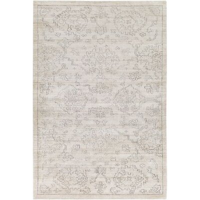 Glynn Hand-Loomed Beige/Charcoal Area Rug Rug Size: Rectangle 4 x 6