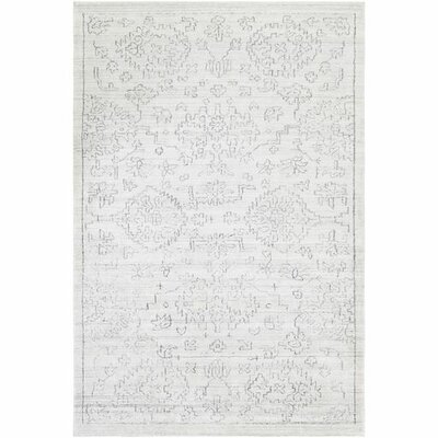 Glynn Hand-Loomed White/Black Area Rug Rug Size: Rectangle 8 x 10